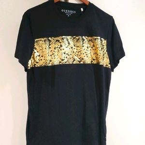 ❤ Mens GUESS tshirt black with gold foil